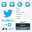 Twitter social set icons button follow like symbol — Stock Vector #25444045