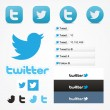 Twitter social set icons button follow like symbol — 图库矢量图片