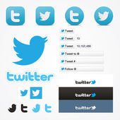 Iconos sociales conjunto botón siga como símbolo de twitter — Vector de stock