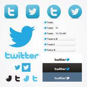 Twitter icone set sociale pulsante seguire come simbolo — Vettoriale Stock