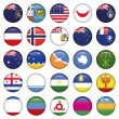 Antarctic and Russian Flags Round Buttons — Stock Vector