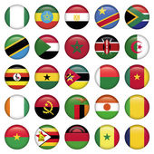 African Flags Round Icons — Stock Vector