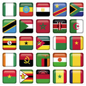 African Flags Square Icons — Stock Vector