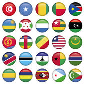 Africa Flags Round Buttons — Stock Vector