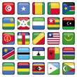 Africa Flags Square Buttons — Stock Vector