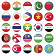Asiatic Flags Round Icons — Stok Vektör