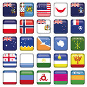 Antarctic and Russian Flags Square Buttons — Stock Vector