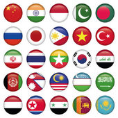 Asiatic Flags Round Icons — Stock Vector
