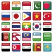 Asia Flags Square Icons — Stock Vector