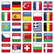 Stock Vector: Europe Icons Squared Flags