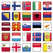 Europe Buttons Square Flags — Stock Vector