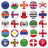 Set of European Round Flag Icons — Stock Vector