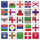 Set of European Square Flag Icons — Stock Vector