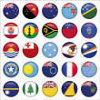 Set of Australian, Oceania Round Flag Icons — ストックベクタ