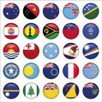 Set of Australian, Oceania Round Flag Icons — Stock Vector