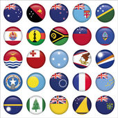 Set of Australian, Oceania Round Flag Icons — Stock Vector