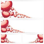 Set of horizontal banners with hearts Background — Stock Vector