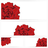 Set of red roses isolated on white background — Stock Vector