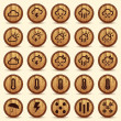 Wood Weather Icons in Brown Background — Stock Vector