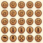Iconos de madera tiempo en fondo marrón — Vector de stock