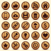 Social Icons, wood texture Buttons Set — Stok Vektör
