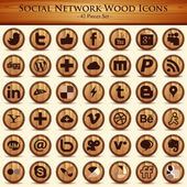 Social network icons. Wood Texture Buttons — Stock Vector