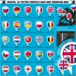 Stock Vector: EuropeIcons Round Indicator Flags and Map Set1