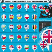 European Icons Round Indicator Flags and Map Set1 — Stock Vector