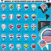America Pointer Flag Icons with american Map set1 — Stock Vector