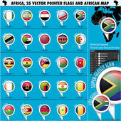 Africa Pointer Flag Icons with african Map set1 — Stock Vector