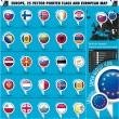 Stock Vector: EuropeIcons Round Indicator Flags and Map Set2