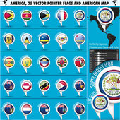America Pointer Flag Icons with american Map set2 — Stock Vector