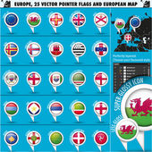 European Icons Round Indicator Flags and Map Set3. — Stock Vector