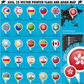 азии карты и флаги set3 иконы указателя — Cтоковый вектор