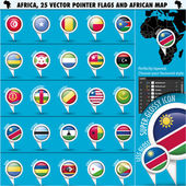 Africa Pointer Flag Icons with african Map set2 — Stock Vector