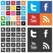 social network flat multi colored icons — Stock Vector