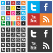 Stock Vector: Social network flat multi colored icons