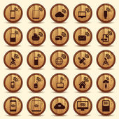 Wood WiFi icons. Mobile and wireless Buttons. — Stock Vector