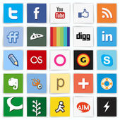 Social network flat multi colored icons — 图库矢量图片