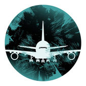 Grunge airplane vector icon, Graphic element — Stok Vektör