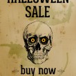 Halloween Sale - Ink Skull Over Old Stained Paper — Stock Vector