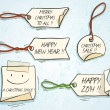 Set of Hand Drawn Christmas Greetings Tags, Comics Style — Stock Vector