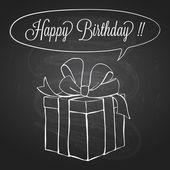 Presentask över krita blackboard - hand dras doodle illustration för födelsedag kortdesign — Stockvektor