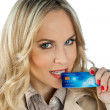 Woman with credit card — Stock Photo #19676049
