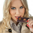 Woman with credit card — Stock Photo #19676053
