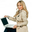 Stock Photo: Attractive womwith laptop