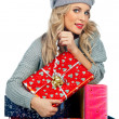 Woman with presents — Stockfoto