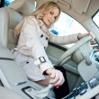 Foto Stock: Woman driver in car