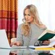 Attractive womwriting on laptop — Stockfoto #19677991