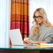 Foto Stock: Attractive womwriting on laptop